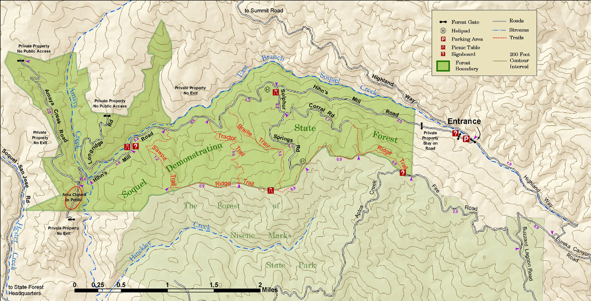 Soquel Demonstration Forest - San jose bike trails map